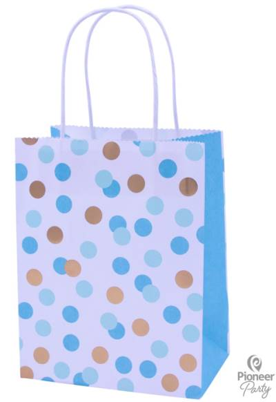 Blue Dot Paper Party Bag each